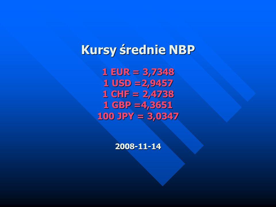 Kursy średnie NBP 1 EUR = 3,7348 1 USD =2,9457 1 CHF = 2,4738 1 GBP =4,3651 100 JPY = 3,0347 2008-11-14 Kursy średnie NBP 1 EUR = 3,7348 1 USD =2,9457