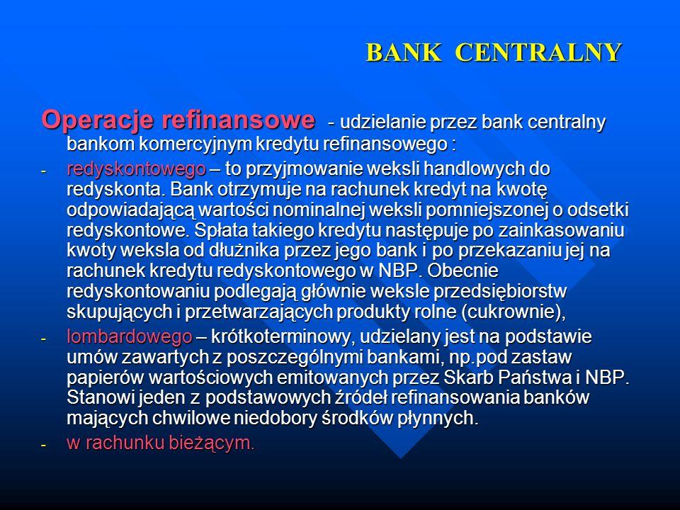 BANK CENTRALNY Operacje refinansowe - udzielanie przez bank centralny bankom komercyjnym kredytu refinansowego : - redyskontowego – to przyjmowanie we