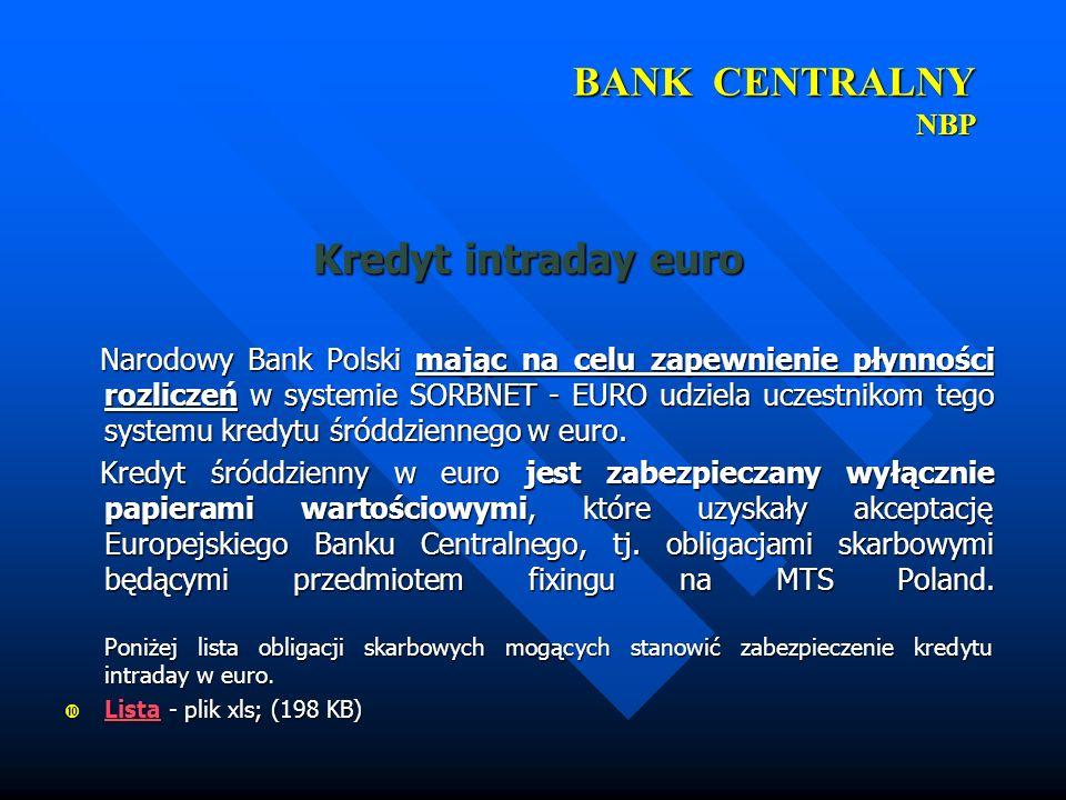 BANK CENTRALNY NBP Kredyt intraday euro Narodowy Bank Polski mając na celu zapewnienie płynności rozliczeń w systemie SORBNET - EURO udziela uczestnik