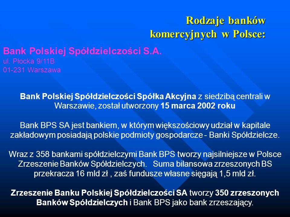 Rodzaje banków komercyjnych w Polsce: Bank Polskiej Spółdzielczości S.A. ul. Płocka 9/11B 01-231 Warszawa Bank Polskiej Spółdzielczości Spółka Akcyjna