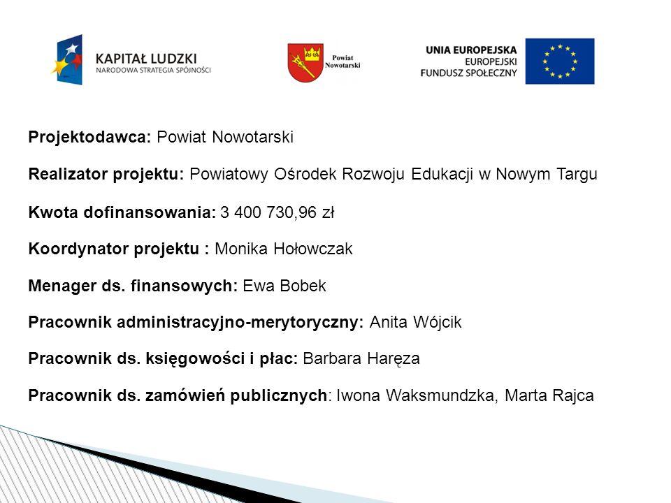 Cel główny: Poprawa jakości funkcjonowania systemu doskonalenia nauczycieli/lek poprzez kompleksowe wsparcie spójne z potrzebami 93 szkół/przedszkoli powiatu nowotarskiego od 01.08.2013 r.