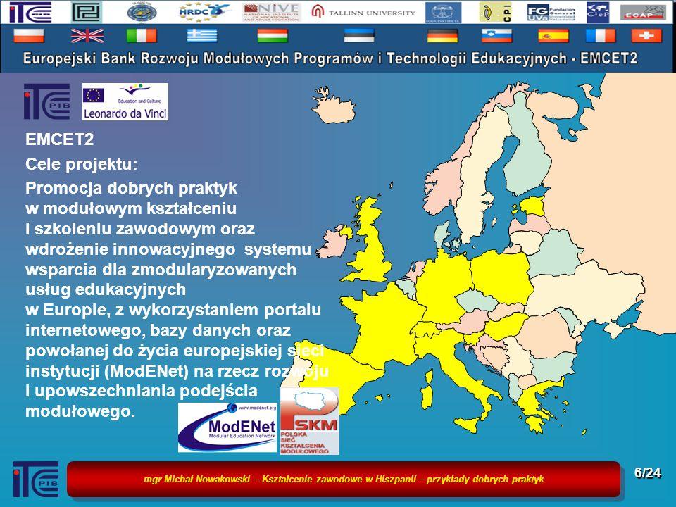 mgr Michał Nowakowski – Kształcenie zawodowe w Hiszpanii – przykłady dobrych praktyk 7/24 Podstawy i źródła analizy Projekty Ośrodka: EQUAL, EMCET, EMCET 2, MEVA, EQF Network Testing Publikacje krajowe i zagraniczne CONFINTEA – Globalny Raport Edukacji i Uczenia się Dorosłych Sieci naukowej współpracy ITeE-PIB: CEDEFOP, Eurostat, Eurydice, OECD, EVBB, EAEA, IGIP, ETF, ModENet, ReferNET, PSKM, EMCET Doświadczenia własne