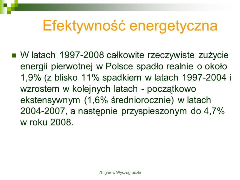 Efektywność energetyczna W latach 1997-2008 całkowite rzeczywiste zużycie energii pierwotnej w Polsce spadło realnie o około 1,9% (z blisko 11% spadkiem w latach 1997-2004 i wzrostem w kolejnych latach - początkowo ekstensywnym (1,6% średniorocznie) w latach 2004-2007, a następnie przyspieszonym do 4,7% w roku 2008.