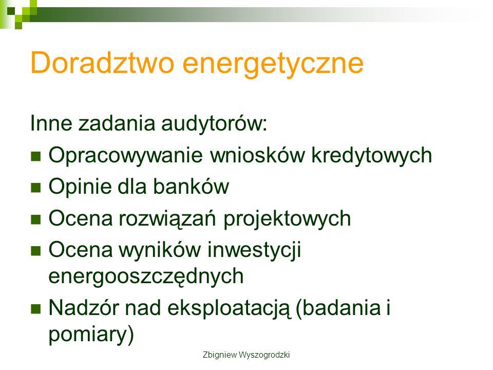 Doradztwo energetyczne Inne zadania audytorów: Opracowywanie wniosków kredytowych Opinie dla banków Ocena rozwiązań projektowych Ocena wyników inwestycji energooszczędnych Nadzór nad eksploatacją (badania i pomiary) Zbigniew Wyszogrodzki