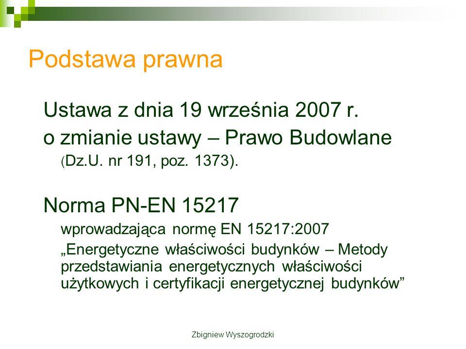 Podstawa prawna Ustawa z dnia 19 września 2007 r.o zmianie ustawy – Prawo Budowlane ( Dz.U.