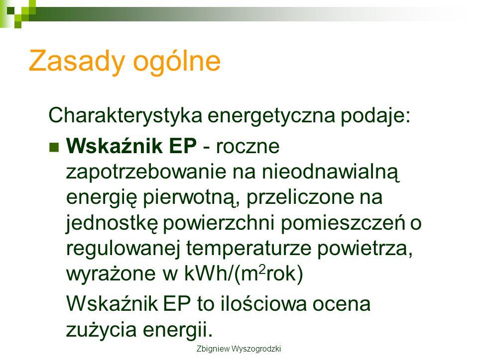 Zasady ogólne Charakterystyka energetyczna podaje: Wskaźnik EP - roczne zapotrzebowanie na nieodnawialną energię pierwotną, przeliczone na jednostkę powierzchni pomieszczeń o regulowanej temperaturze powietrza, wyrażone w kWh/(m 2 rok) Wskaźnik EP to ilościowa ocena zużycia energii.