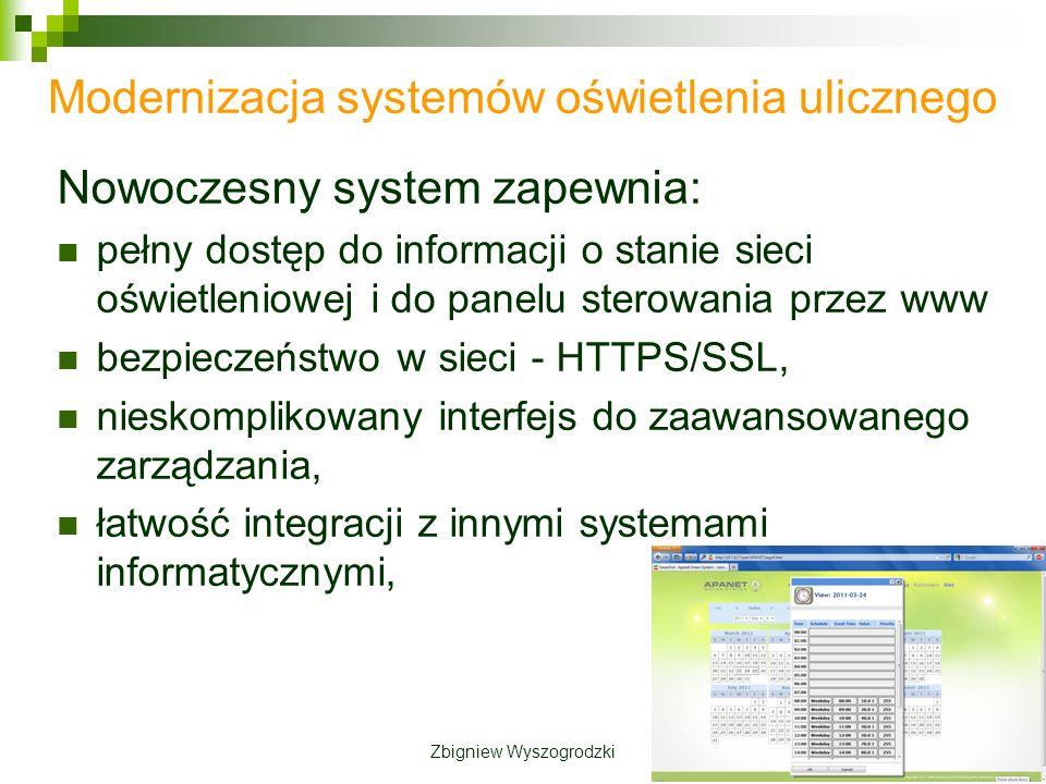 Modernizacja systemów oświetlenia ulicznego Nowoczesny system zapewnia: pełny dostęp do informacji o stanie sieci oświetleniowej i do panelu sterowania przez www bezpieczeństwo w sieci - HTTPS/SSL, nieskomplikowany interfejs do zaawansowanego zarządzania, łatwość integracji z innymi systemami informatycznymi, Zbigniew Wyszogrodzki
