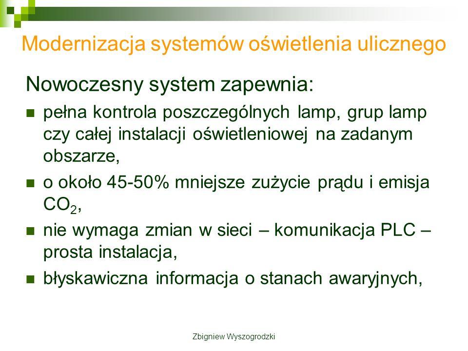 Modernizacja systemów oświetlenia ulicznego Nowoczesny system zapewnia: pełna kontrola poszczególnych lamp, grup lamp czy całej instalacji oświetleniowej na zadanym obszarze, o około 45-50% mniejsze zużycie prądu i emisja CO 2, nie wymaga zmian w sieci – komunikacja PLC – prosta instalacja, błyskawiczna informacja o stanach awaryjnych, Zbigniew Wyszogrodzki