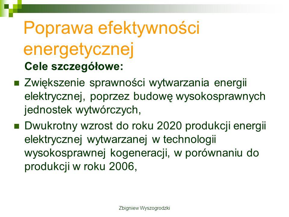 Cele szczegółowe: Zwiększenie sprawności wytwarzania energii elektrycznej, poprzez budowę wysokosprawnych jednostek wytwórczych, Dwukrotny wzrost do roku 2020 produkcji energii elektrycznej wytwarzanej w technologii wysokosprawnej kogeneracji, w porównaniu do produkcji w roku 2006, Poprawa efektywności energetycznej Zbigniew Wyszogrodzki