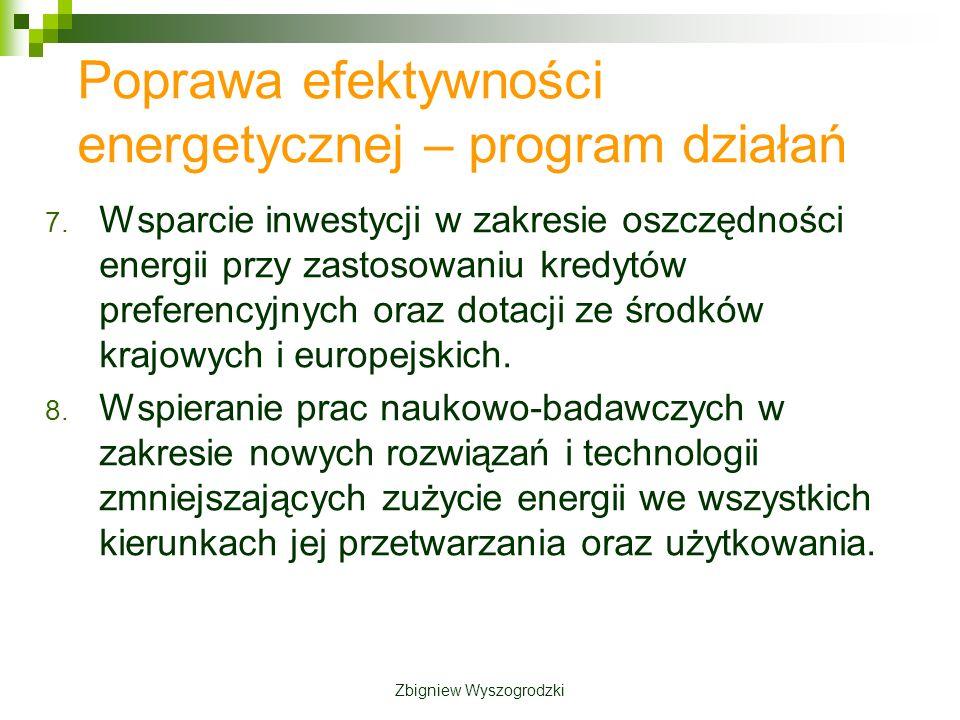 7. Wsparcie inwestycji w zakresie oszczędności energii przy zastosowaniu kredytów preferencyjnych oraz dotacji ze środków krajowych i europejskich. 8.