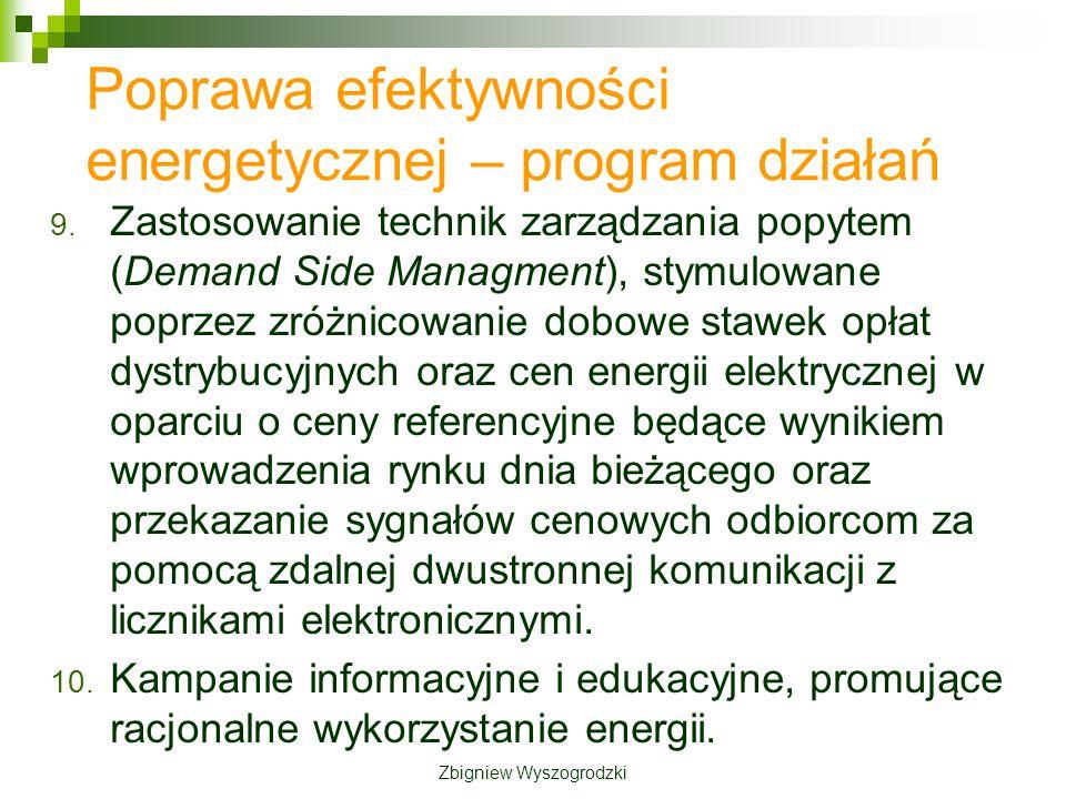 9. Zastosowanie technik zarządzania popytem (Demand Side Managment), stymulowane poprzez zróżnicowanie dobowe stawek opłat dystrybucyjnych oraz cen en