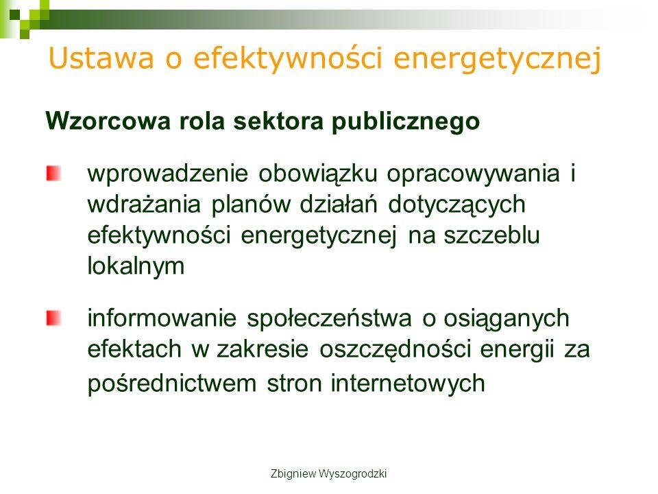 Wzorcowa rola sektora publicznego wprowadzenie obowiązku opracowywania i wdrażania planów działań dotyczących efektywności energetycznej na szczeblu lokalnym informowanie społeczeństwa o osiąganych efektach w zakresie oszczędności energii za pośrednictwem stron internetowych Ustawa o efektywności energetycznej Zbigniew Wyszogrodzki