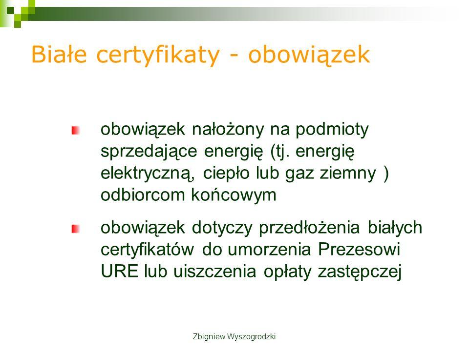 Białe certyfikaty - obowiązek obowiązek nałożony na podmioty sprzedające energię (tj.