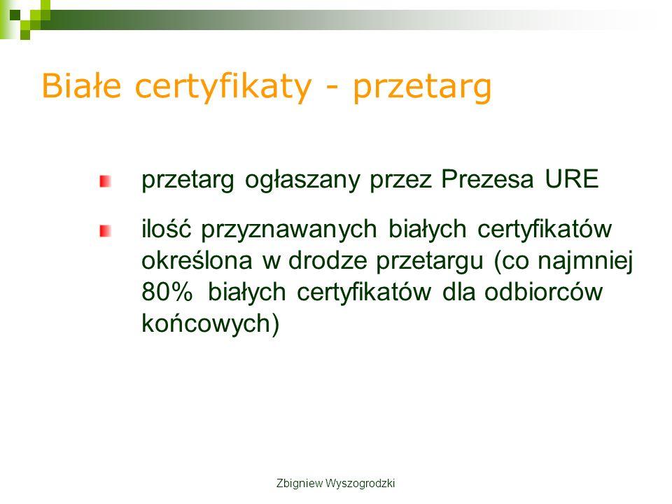 przetarg ogłaszany przez Prezesa URE ilość przyznawanych białych certyfikatów określona w drodze przetargu (co najmniej 80% białych certyfikatów dla odbiorców końcowych) Białe certyfikaty - przetarg Zbigniew Wyszogrodzki