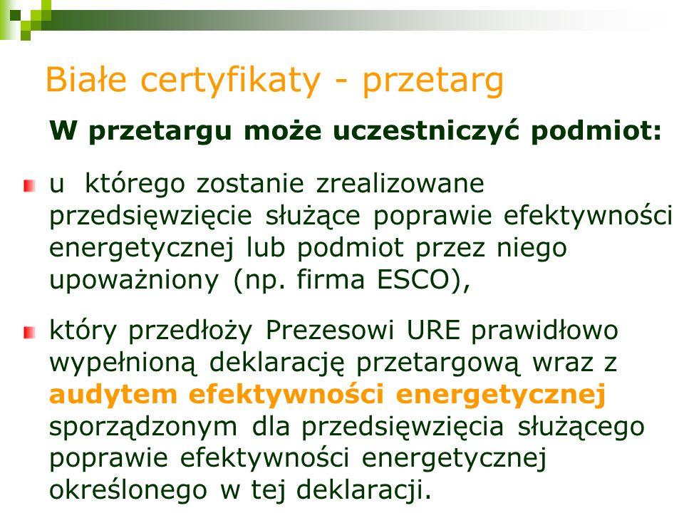 W przetargu może uczestniczyć podmiot: u którego zostanie zrealizowane przedsięwzięcie służące poprawie efektywności energetycznej lub podmiot przez niego upoważniony (np.