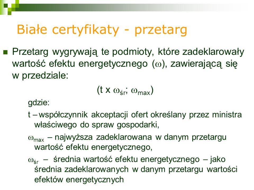 Przetarg wygrywają te podmioty, które zadeklarowały wartość efektu energetycznego ( ), zawierającą się w przedziale: (t x śr ; max ) gdzie: t – współczynnik akceptacji ofert określany przez ministra właściwego do spraw gospodarki, max – najwyższa zadeklarowana w danym przetargu wartość efektu energetycznego, śr –średnia wartość efektu energetycznego – jako średnia zadeklarowanych w danym przetargu wartości efektów energetycznych Białe certyfikaty - przetarg
