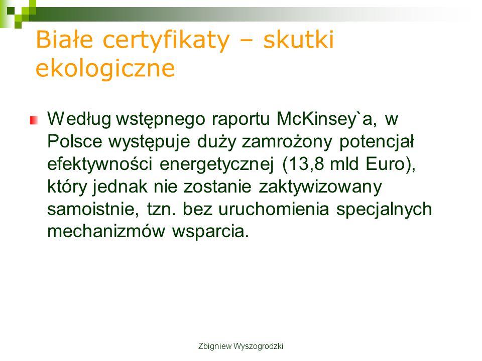 Białe certyfikaty – skutki ekologiczne Według wstępnego raportu McKinsey`a, w Polsce występuje duży zamrożony potencjał efektywności energetycznej (13,8 mld Euro), który jednak nie zostanie zaktywizowany samoistnie, tzn.