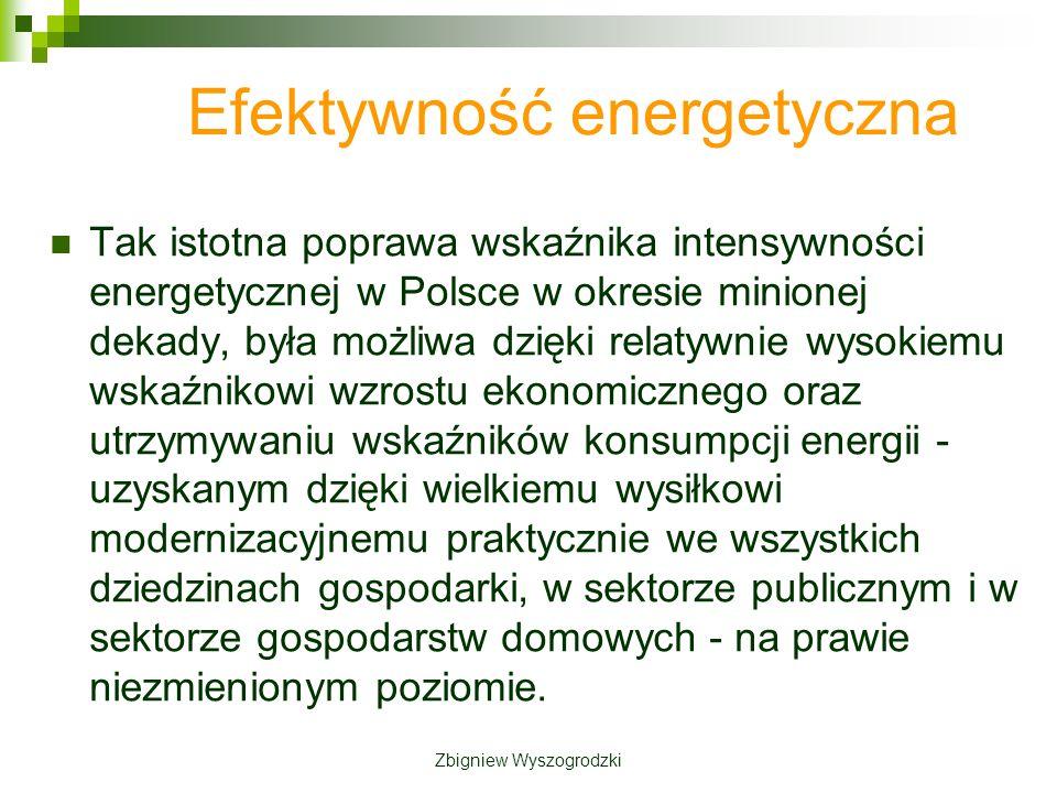 Efektywność energetyczna Tak istotna poprawa wskaźnika intensywności energetycznej w Polsce w okresie minionej dekady, była możliwa dzięki relatywnie wysokiemu wskaźnikowi wzrostu ekonomicznego oraz utrzymywaniu wskaźników konsumpcji energii - uzyskanym dzięki wielkiemu wysiłkowi modernizacyjnemu praktycznie we wszystkich dziedzinach gospodarki, w sektorze publicznym i w sektorze gospodarstw domowych - na prawie niezmienionym poziomie.