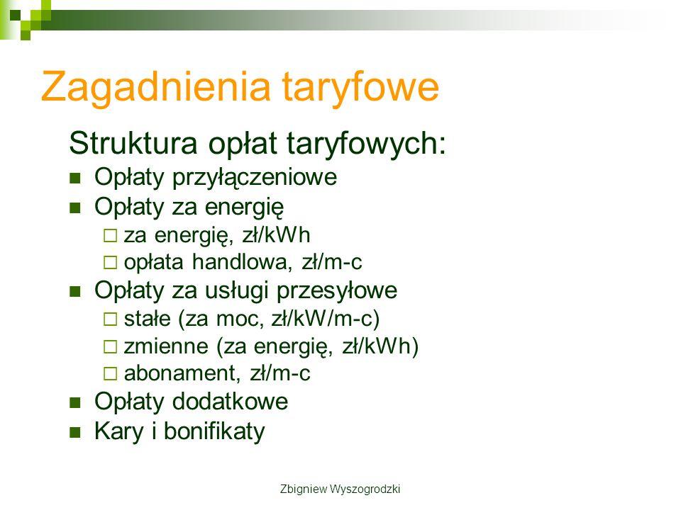 Zagadnienia taryfowe Struktura opłat taryfowych: Opłaty przyłączeniowe Opłaty za energię za energię, zł/kWh opłata handlowa, zł/m-c Opłaty za usługi przesyłowe stałe (za moc, zł/kW/m-c) zmienne (za energię, zł/kWh) abonament, zł/m-c Opłaty dodatkowe Kary i bonifikaty Zbigniew Wyszogrodzki