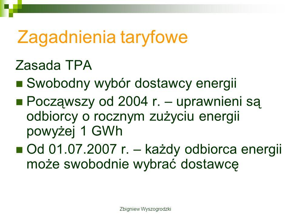 Zagadnienia taryfowe Zasada TPA Swobodny wybór dostawcy energii Począwszy od 2004 r.