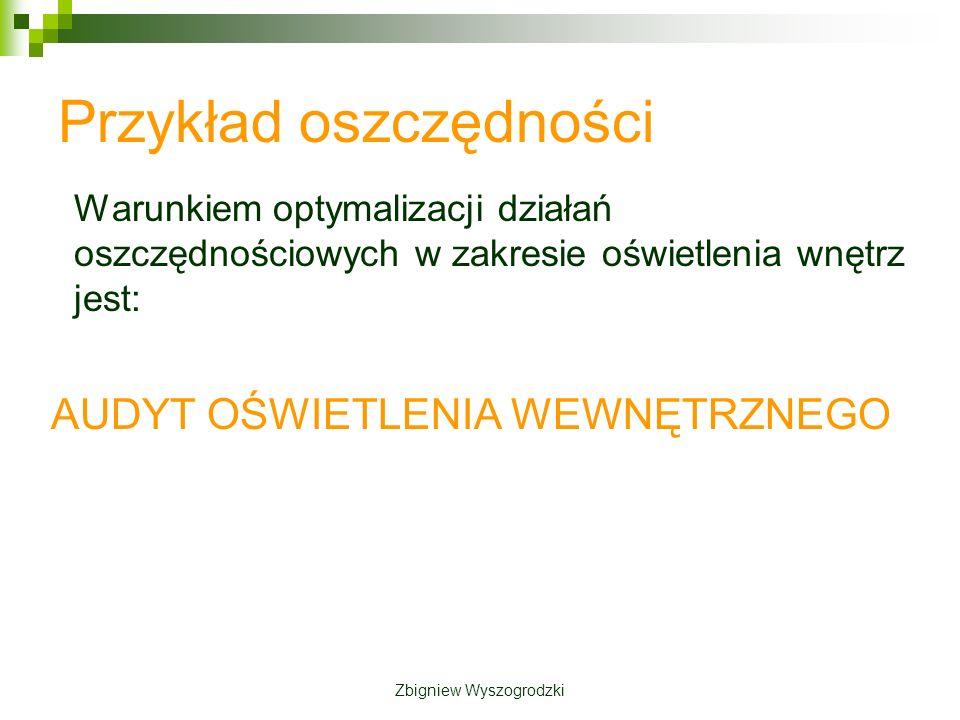 Przykład oszczędności Warunkiem optymalizacji działań oszczędnościowych w zakresie oświetlenia wnętrz jest: AUDYT OŚWIETLENIA WEWNĘTRZNEGO Zbigniew Wyszogrodzki