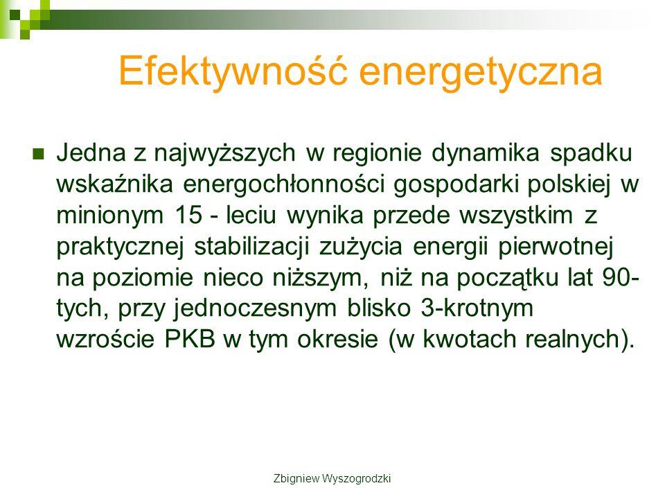 Efektywność energetyczna Jedna z najwyższych w regionie dynamika spadku wskaźnika energochłonności gospodarki polskiej w minionym 15 - leciu wynika przede wszystkim z praktycznej stabilizacji zużycia energii pierwotnej na poziomie nieco niższym, niż na początku lat 90- tych, przy jednoczesnym blisko 3-krotnym wzroście PKB w tym okresie (w kwotach realnych).
