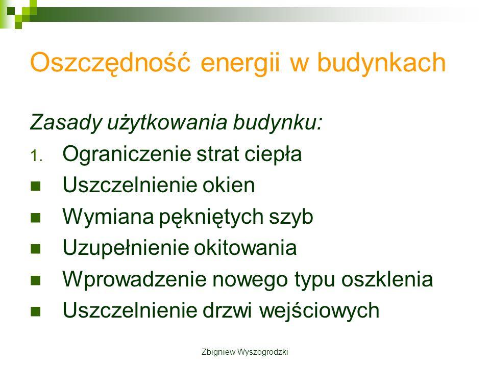Oszczędność energii w budynkach Zasady użytkowania budynku: 1.