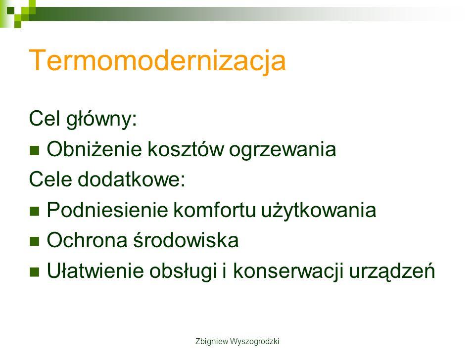 Termomodernizacja Cel główny: Obniżenie kosztów ogrzewania Cele dodatkowe: Podniesienie komfortu użytkowania Ochrona środowiska Ułatwienie obsługi i konserwacji urządzeń Zbigniew Wyszogrodzki