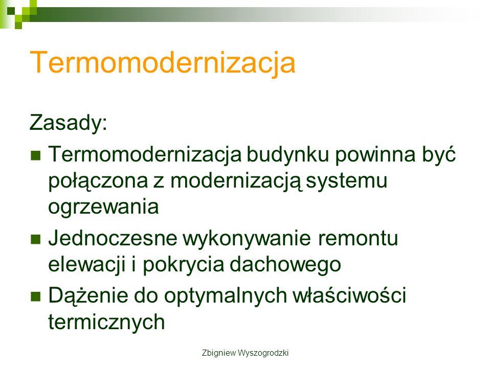 Termomodernizacja Zasady: Termomodernizacja budynku powinna być połączona z modernizacją systemu ogrzewania Jednoczesne wykonywanie remontu elewacji i pokrycia dachowego Dążenie do optymalnych właściwości termicznych Zbigniew Wyszogrodzki