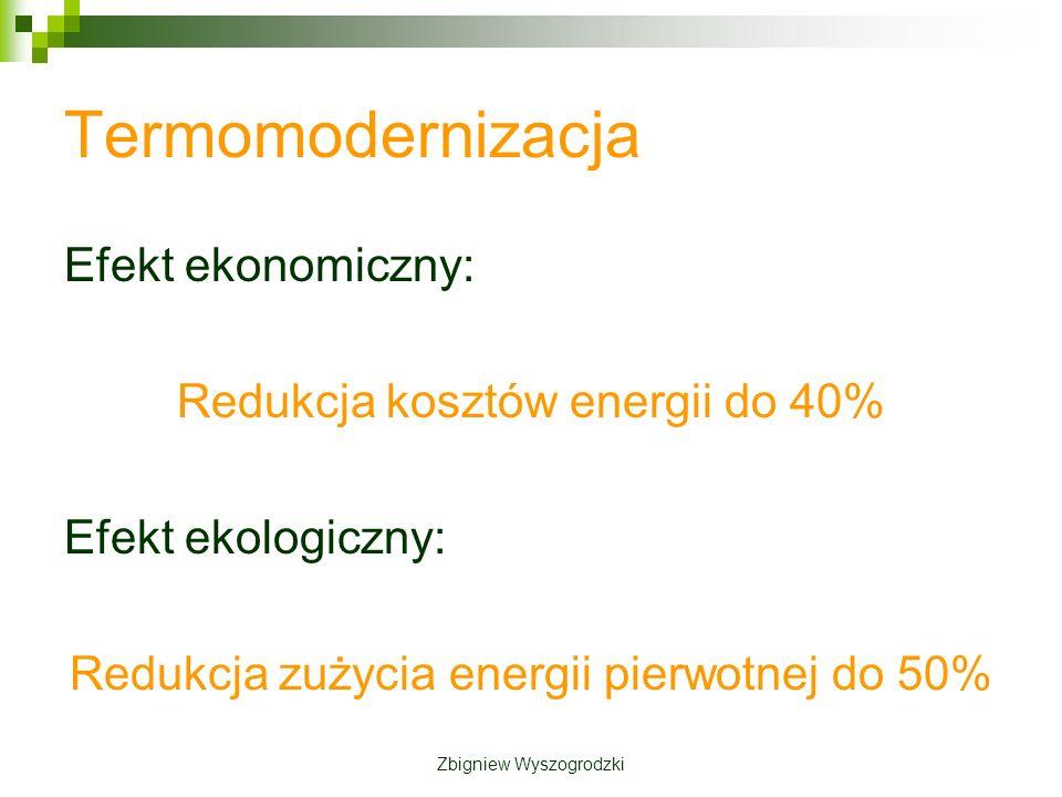 Termomodernizacja Efekt ekonomiczny: Redukcja kosztów energii do 40% Efekt ekologiczny: Redukcja zużycia energii pierwotnej do 50% Zbigniew Wyszogrodzki