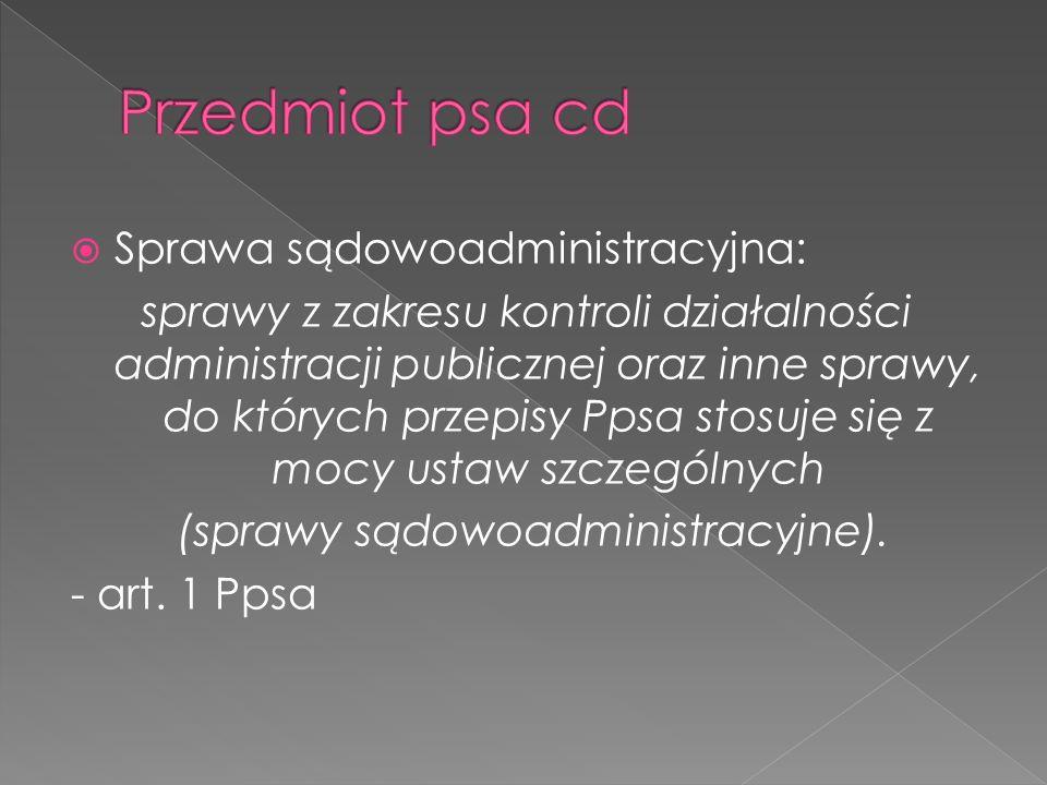 Sprawa sądowoadministracyjna: sprawy z zakresu kontroli działalności administracji publicznej oraz inne sprawy, do których przepisy Ppsa stosuje się z
