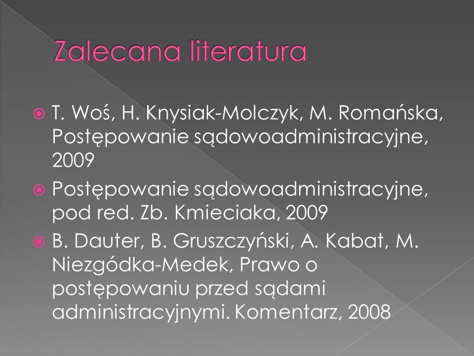 T. Woś, H. Knysiak-Molczyk, M. Romańska, Postępowanie sądowoadministracyjne, 2009 Postępowanie sądowoadministracyjne, pod red. Zb. Kmieciaka, 2009 B.