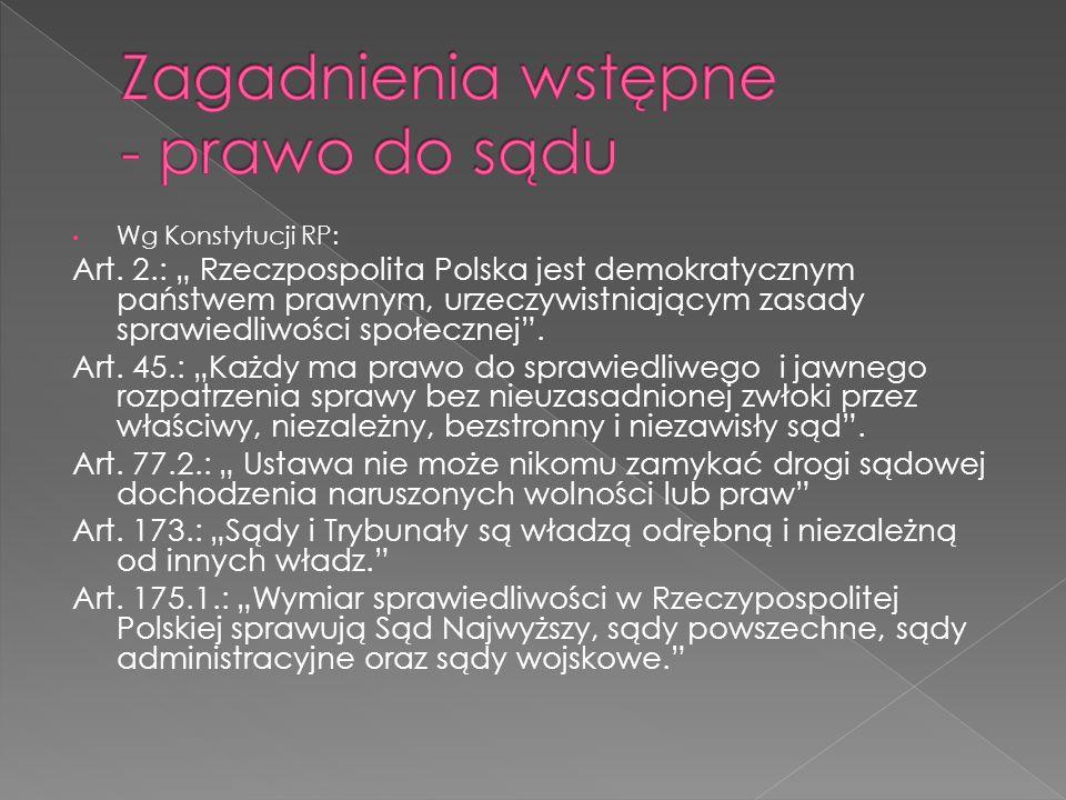 Wg Konstytucji RP: Art. 2.: Rzeczpospolita Polska jest demokratycznym państwem prawnym, urzeczywistniającym zasady sprawiedliwości społecznej. Art. 45