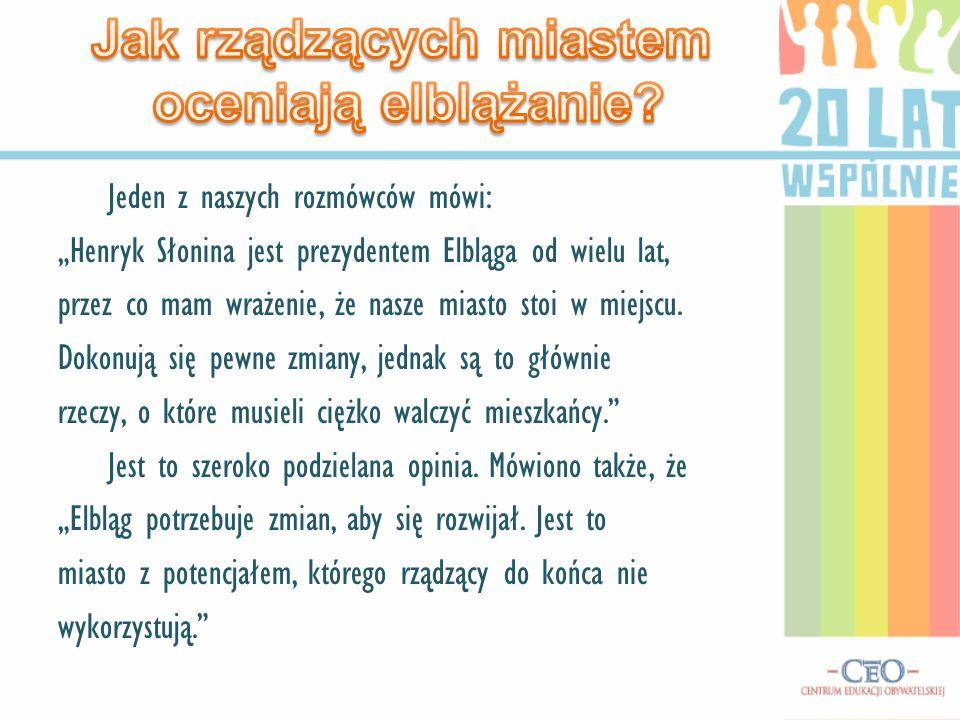 Jeden z naszych rozmówców mówi: Henryk Słonina jest prezydentem Elbląga od wielu lat, przez co mam wrażenie, że nasze miasto stoi w miejscu. Dokonują