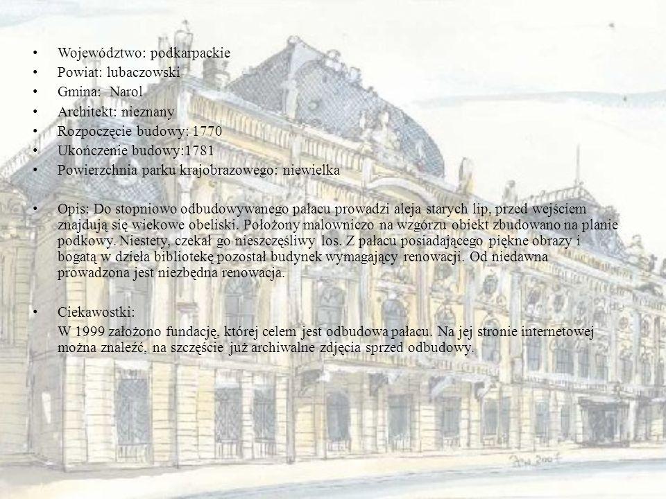 Województwo: podkarpackie Powiat: lubaczowski Gmina: Narol Architekt: nieznany Rozpoczęcie budowy: 1770 Ukończenie budowy:1781 Powierzchnia parku kraj