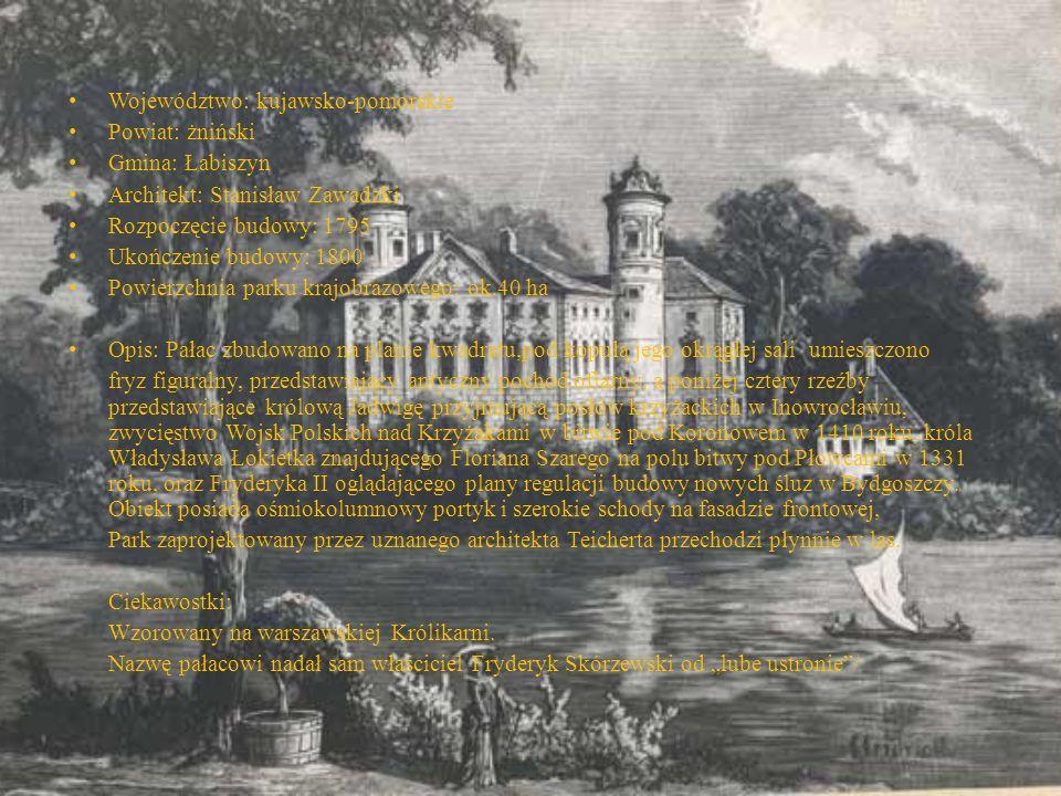 Województwo: kujawsko-pomorskie Powiat: żniński Gmina: Łabiszyn Architekt: Stanisław Zawadzki Rozpoczęcie budowy: 1795 Ukończenie budowy: 1800 Powierz