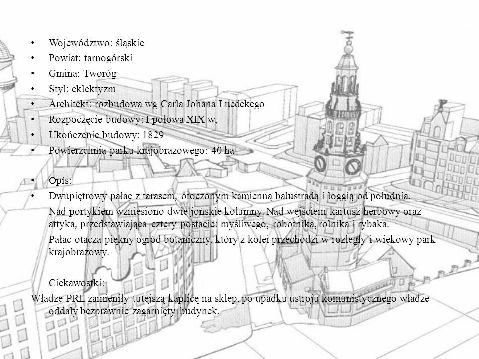Województwo: śląskie Powiat: tarnogórski Gmina: Tworóg Styl: eklektyzm Architekt: rozbudowa wg Carla Johana Luedckego Rozpoczęcie budowy: I połowa XIX
