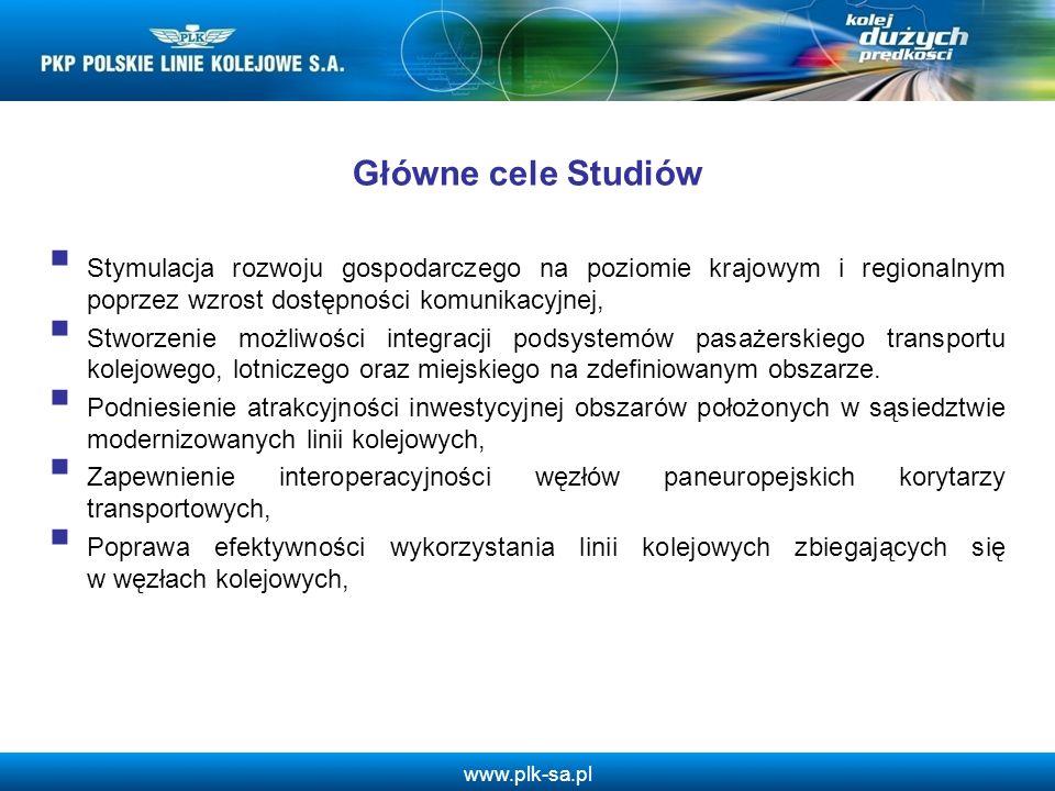 www.plk-sa.pl Główne cele Studiów Stymulacja rozwoju gospodarczego na poziomie krajowym i regionalnym poprzez wzrost dostępności komunikacyjnej, Stwor