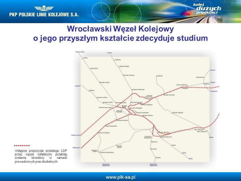 www.plk-sa.pl Wrocławski Węzeł Kolejowy o jego przyszłym kształcie zdecyduje studium Wstępne propozycje przebiegu LDP przez węzeł; ostateczny przebieg
