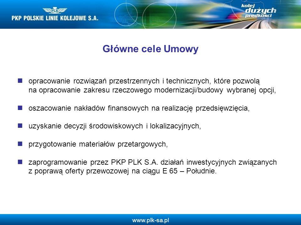 www.plk-sa.pl Główne cele Umowy opracowanie rozwiązań przestrzennych i technicznych, które pozwolą na opracowanie zakresu rzeczowego modernizacji/budo