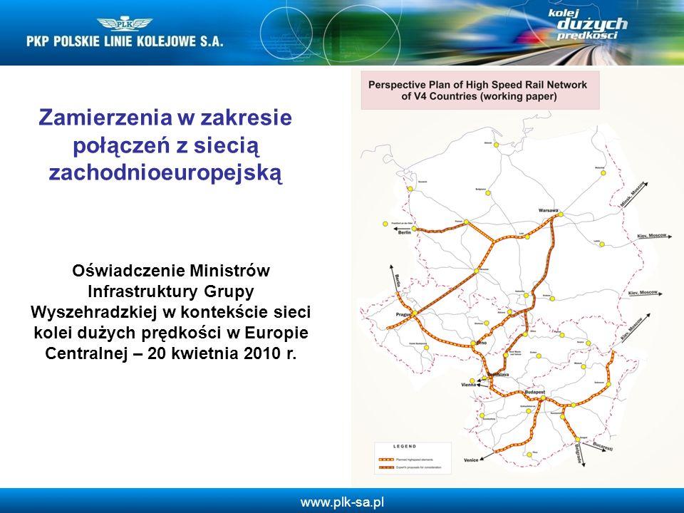 www.plk-sa.pl Zamierzenia w zakresie połączeń z siecią zachodnioeuropejską Oświadczenie Ministrów Infrastruktury Grupy Wyszehradzkiej w kontekście sie
