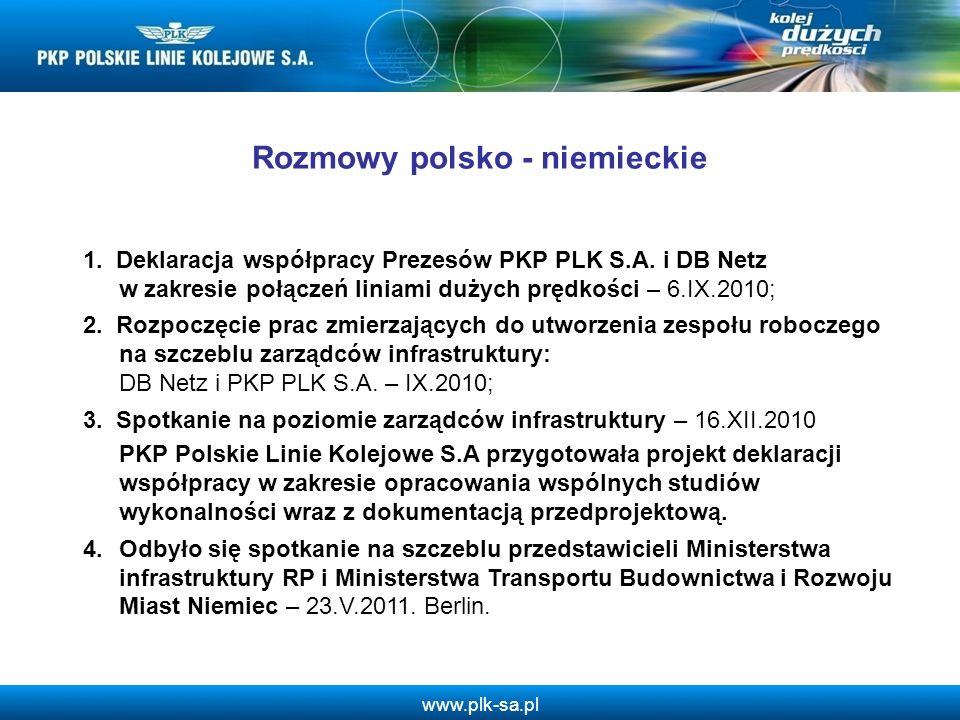 www.plk-sa.pl Rozmowy polsko - niemieckie 1. Deklaracja współpracy Prezesów PKP PLK S.A. i DB Netz w zakresie połączeń liniami dużych prędkości – 6.IX