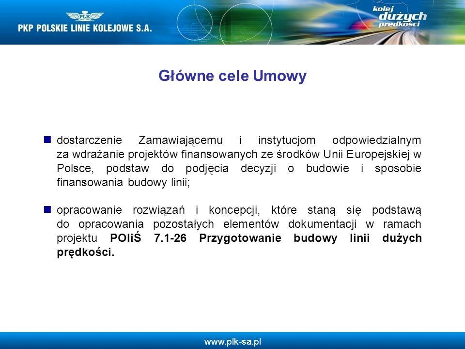 www.plk-sa.pl 1.Analizy wstępne 2.Analizy popytu i podaży 3.Dokumentacja środowiskowa 4.Analizy techniczne 5.Analizy finansowe i ekonomiczne 6.Zarządzanie inwestycją 7.Analiza wielokryterialna przebiegu trasy.