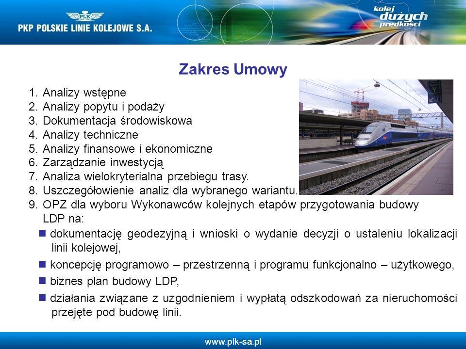 www.plk-sa.pl 1.Analizy wstępne 2.Analizy popytu i podaży 3.Dokumentacja środowiskowa 4.Analizy techniczne 5.Analizy finansowe i ekonomiczne 6.Zarządz