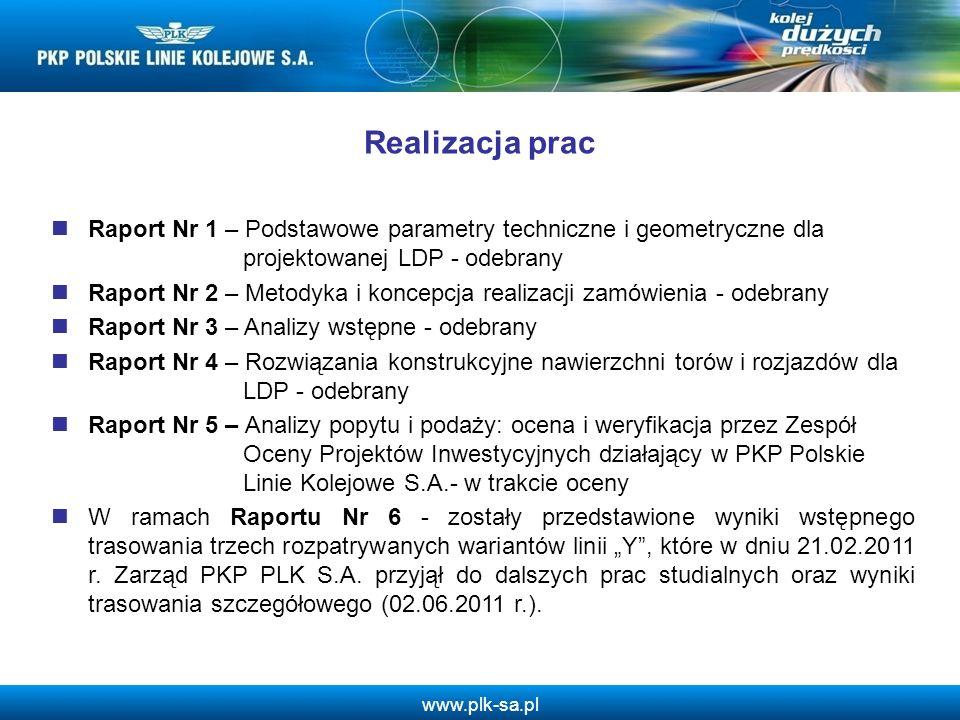 www.plk-sa.pl Realizacja prac Raport Nr 1 – Podstawowe parametry techniczne i geometryczne dla projektowanej LDP - odebrany Raport Nr 2 – Metodyka i k