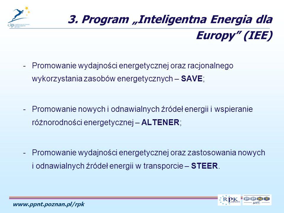 www.ppnt.poznan.pl/rpk -Promowanie wydajności energetycznej oraz racjonalnego wykorzystania zasobów energetycznych – SAVE; -Promowanie nowych i odnawialnych źródeł energii i wspieranie różnorodności energetycznej – ALTENER; -Promowanie wydajności energetycznej oraz zastosowania nowych i odnawialnych źródeł energii w transporcie – STEER.