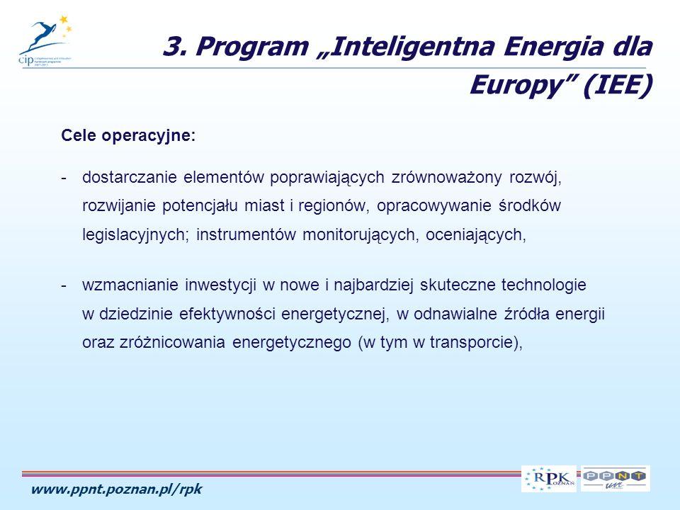 www.ppnt.poznan.pl/rpk Cele operacyjne: -dostarczanie elementów poprawiających zrównoważony rozwój, rozwijanie potencjału miast i regionów, opracowywanie środków legislacyjnych; instrumentów monitorujących, oceniających, -wzmacnianie inwestycji w nowe i najbardziej skuteczne technologie w dziedzinie efektywności energetycznej, w odnawialne źródła energii oraz zróżnicowania energetycznego (w tym w transporcie), 3.