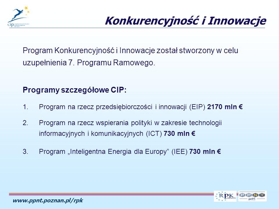 www.ppnt.poznan.pl/rpk Program Konkurencyjność i Innowacje został stworzony w celu uzupełnienia 7.