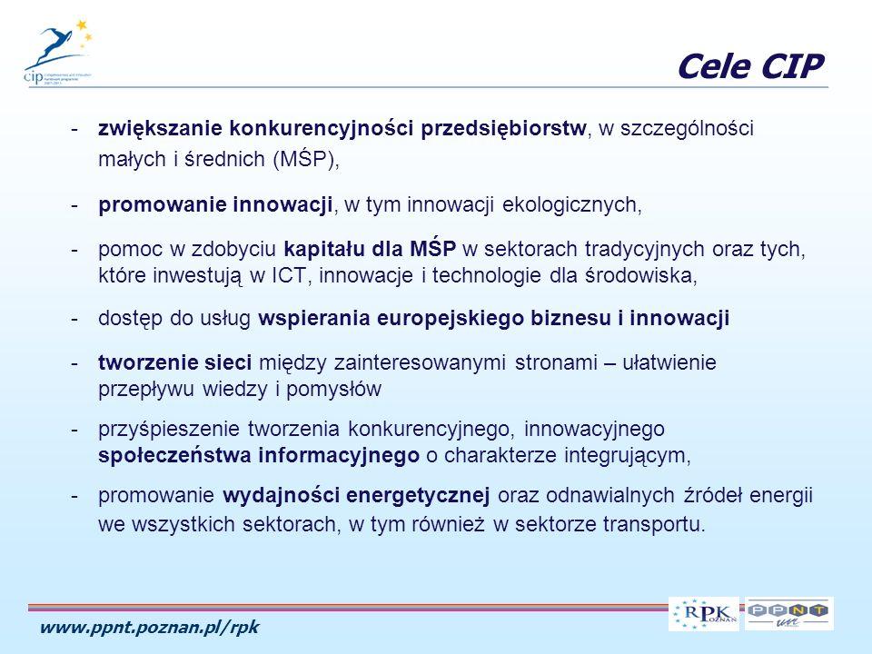 www.ppnt.poznan.pl/rpk -zwiększanie konkurencyjności przedsiębiorstw, w szczególności małych i średnich (MŚP), -promowanie innowacji, w tym innowacji ekologicznych, -pomoc w zdobyciu kapitału dla MŚP w sektorach tradycyjnych oraz tych, które inwestują w ICT, innowacje i technologie dla środowiska, -dostęp do usług wspierania europejskiego biznesu i innowacji -tworzenie sieci między zainteresowanymi stronami – ułatwienie przepływu wiedzy i pomysłów -przyśpieszenie tworzenia konkurencyjnego, innowacyjnego społeczeństwa informacyjnego o charakterze integrującym, -promowanie wydajności energetycznej oraz odnawialnych źródeł energii we wszystkich sektorach, w tym również w sektorze transportu.