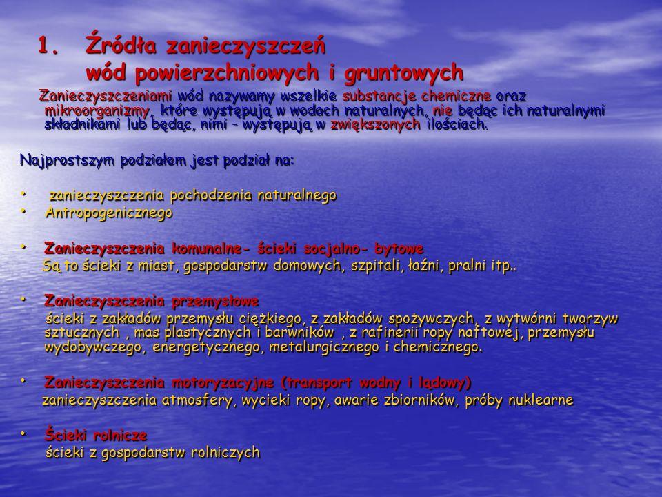 1.Źródła zanieczyszczeń wód powierzchniowych i gruntowych Zanieczyszczeniami wód nazywamy wszelkie substancje chemiczne oraz mikroorganizmy, które wys